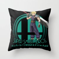 super smash bros Throw Pillows featuring Cloud - Super Smash Bros. by Donkey Inferno