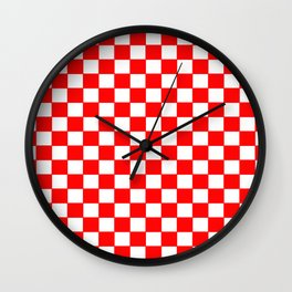 Checkers - Red and White Wall Clock