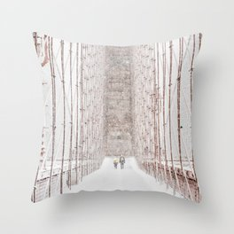 Brooklyn Bridge Snow Throw Pillow