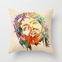 jesus Throw Pillows featuring JESUS  by mark ashkenazi