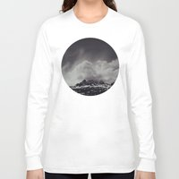 backpack Long Sleeve T-shirts featuring Mountainscape Black and White by Leah Flores