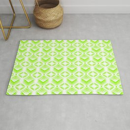 Green diamonds from white stars on lime hearts in a bright intersection. Rug