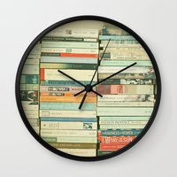 books Wall Clocks featuring Bookworm by Cassia Beck