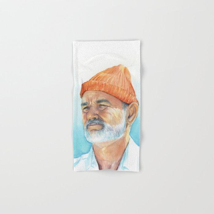 Steve Zissou Art Life Aquatic Bill Murray Watercolor Portrait Hand & Bath Towel