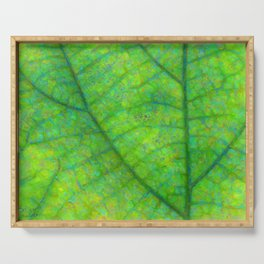 Leaf Macro Photo Painting Serving Tray