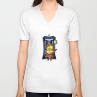 ballon V-neck T-shirts featuring  Yellow Doll  hold ballon doctor with blue phone booth by JanaProject