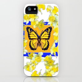GOLDEN DAFFODILS YELLOW MONARCH FLORAL PATTERN iPhone Case