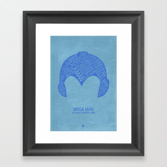 Mega Man Typography Framed Art Print