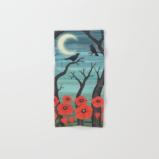 crows, fireflies, and poppies in the moonlight Hand & Bath Towel