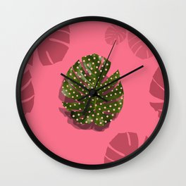 """Moss green leaf and pink flamenco polka dots"" Wall Clock"