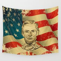 lincoln Wall Tapestries featuring ABRAHAM LINCOLN by alexa