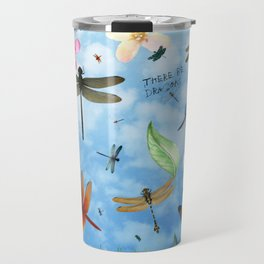 There Be Dragons Whimsical Dragonfly Art Travel Mug