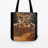 mad max Tote Bags featuring Mad Max Fury Road by Laura Pulido