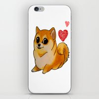 doge iPhone & iPod Skins featuring Valentines Doge by Keri Lynne