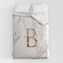 Monogram rose gold marble B Comforters