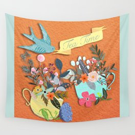 Tea Time With Flowers Wall Tapestry