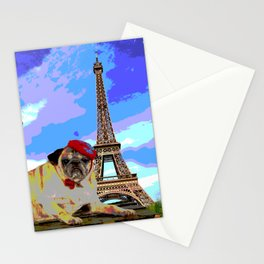 A Pug in Paris Stationery Cards