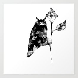 Owl and the flower Art Print