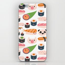Kawaii sushi white iPhone Skin