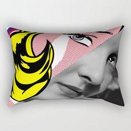 Roy Lichtenstein's Girl with Hair Ribbon & Bette Davis Rectangular Pillow