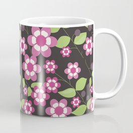 Graphic flowers: Britannia Flowers (black, pink and green) Coffee Mug