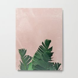 Banana Leaves on Pink Metal Print