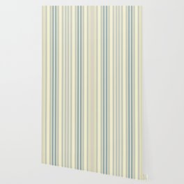 Seafoam Green Yellow Stripes Wallpaper