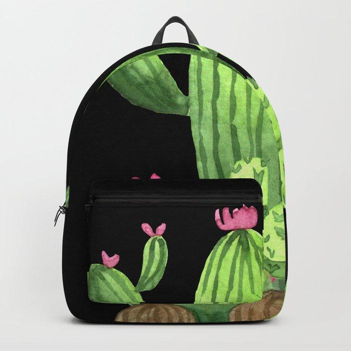Flowering Cactus Bunch on Black Backpack