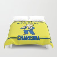fallout Duvet Covers featuring Charisma S.P.E.C.I.A.L. Fallout 4 by sgrunfo