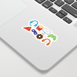 Video Game Party Snack Pattern Sticker