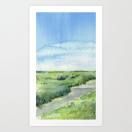Sky and Grass Landscape Watercolor Art Print