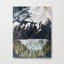 Mountaints Embroidery Metal Print