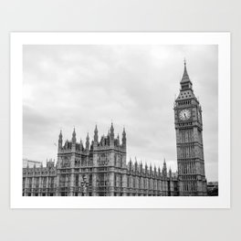 Westminster and Big Ben, London - Black and White Art Print
