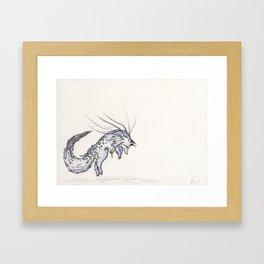 Plunge the Waterfall Fox. Framed Art Print
