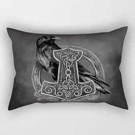 Mjolnir - The hammer of Thor and raven Rectangular Pillow