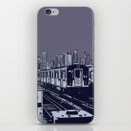 New York, NYC, Subway Train Yard at Night. (Photo collage, travel, gritty streets, graffiti) iPhone Skin