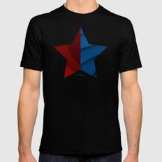 Red and blue color gradient Black Mens Fitted Tee MEDIUM
