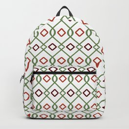 Sage green and crimson red geometric pattern Backpack