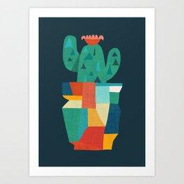 Blooming cactus in cracked pot Art Print