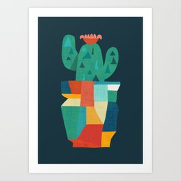 Blooming cactus in cracked pot Art Print