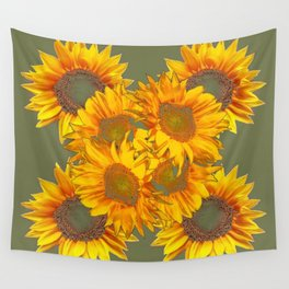 Golden Sunflowers on Putty Color  Art Wall Tapestry