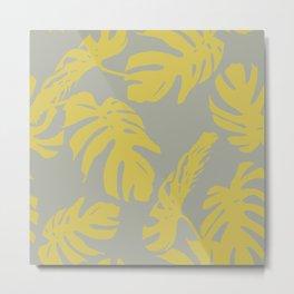 Simply Mod Yellow Palm Leaves on Retro Gray Metal Print