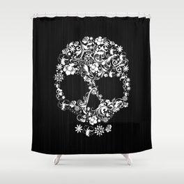 Floral Skull Shower Curtain