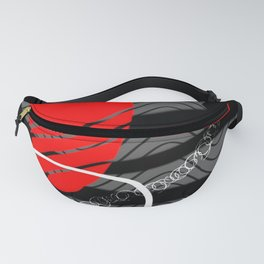 sunset geometric abstract digital red grey black and white painting Fanny Pack
