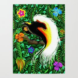 Paradise Bird Fire Feathers Poster