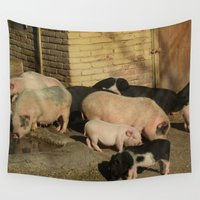 pigs Wall Tapestries featuring Pigs' Party by Vito Fabrizio Brugnola