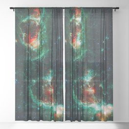 Heart and Soul Nebulae, Galaxy Background, Universe Large Print, Space Wall Art Decor, Deep Space Sheer Curtain