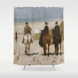 Morning Ride On The Beach - Anton Mauve Shower Curtain