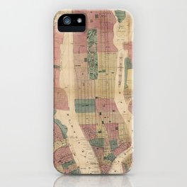 Map of New York and Vicinity (1867) iPhone Case