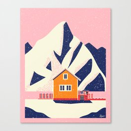 A Winter House in Norway Canvas Print